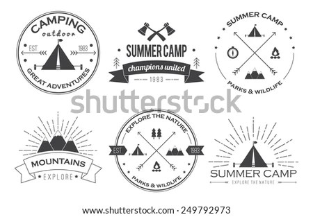 Set Vintage Summer Camp Badges Other Stock Vector