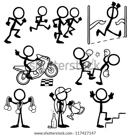 Stick Figure Kids Playing Stock Vector 174826196