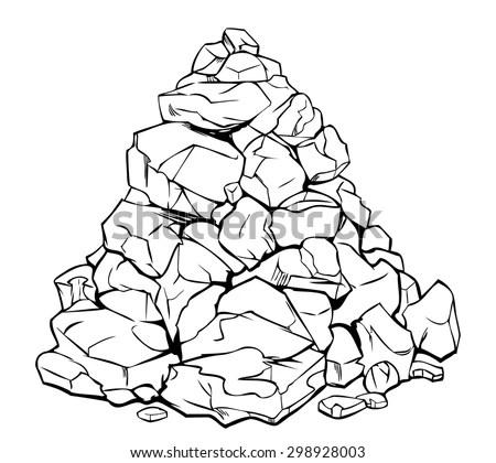 Vector Cartoon Pile Rocks Isolated On Stock Vector