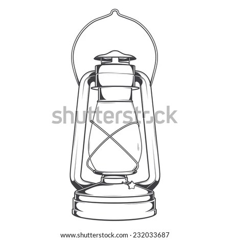 Vintage Candle Lamp Line Style Stock Vector 427641382