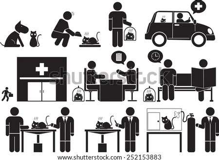 Accident Emergency Medical Staff Icon Set Stock Vector