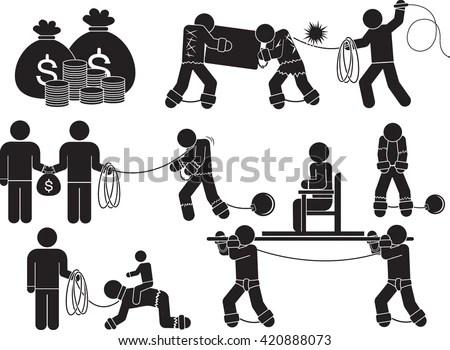 Slave Labor Icon Set Illustration Stock Vector 420888076