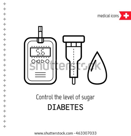 Diabetes Icons Drop Blood Test Glucose Stock Vector
