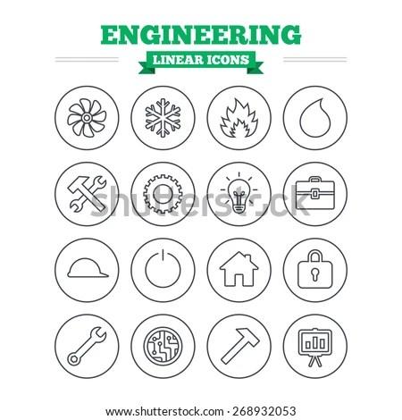 Engineering Linear Icons Set Ventilation Heat Stock Vector