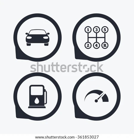 Transport Icons Car Tachometer Manual Transmission Stock