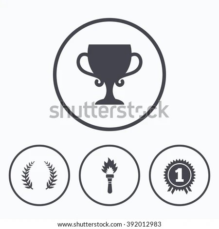Pets Icons Dog Paw Sign Winner Stock Vector 353597273