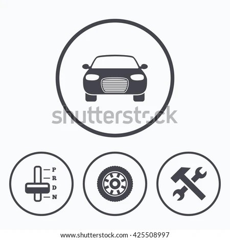 Transport Icons Car Tachometer Mechanic Transmission Stock
