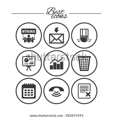 Office Documents Business Icons Call Strike Stock Vector