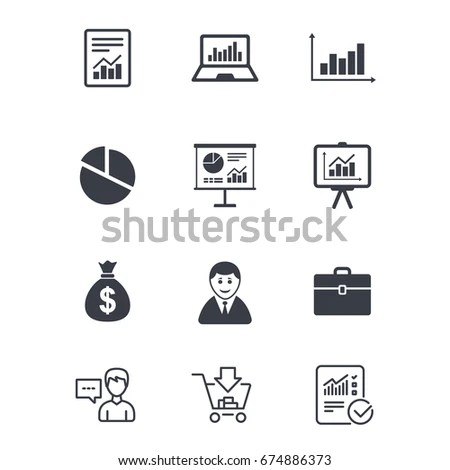 Statistics Accounting Icons Charts Presentation Pie Stock