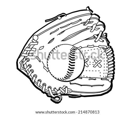 Doodle Style Baseball Glove Vector Format Stock Vector
