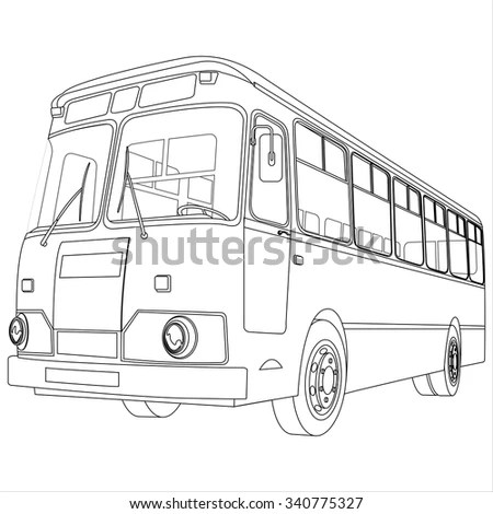Bus Sketch Pencil Drawing Style Stock Vector 243753649