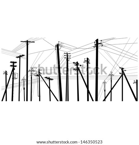 Power Transmission Line Dnieper Hydro Power Stock Vector