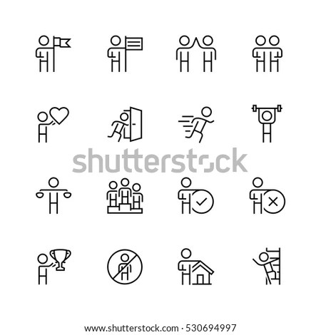 Vector Set Linear Quality Icons Related Stock Vector
