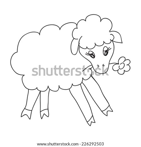 Cute Little Girl Bouquet Black White Stock Vector