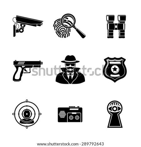 Set Spy Handdrawn Icons Fingerprint Spy Stock Vector