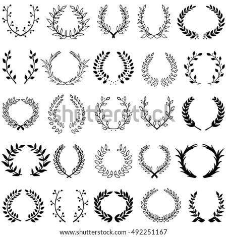 Set Different Circular Wreaths Different Plants Stock