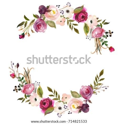 Watercolor Floral Wreath Purple Burgundy Roses Stock