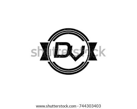 Aerodynamic Initials Letter Dv Logo Vector Stock Vector