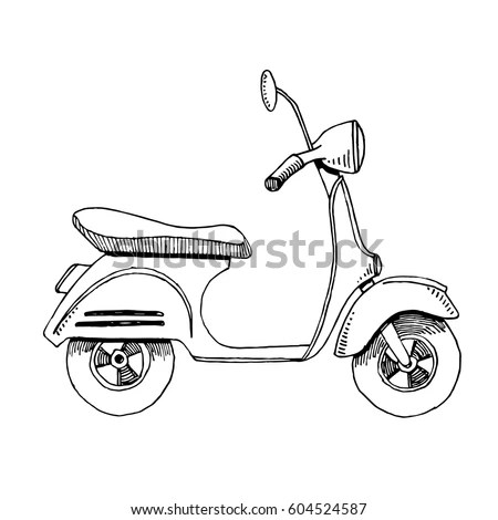 Linear Retro Scooter On White Background Stock Vector