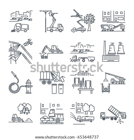 Farming Icons Set Vector Pictogram Web Stock Vector