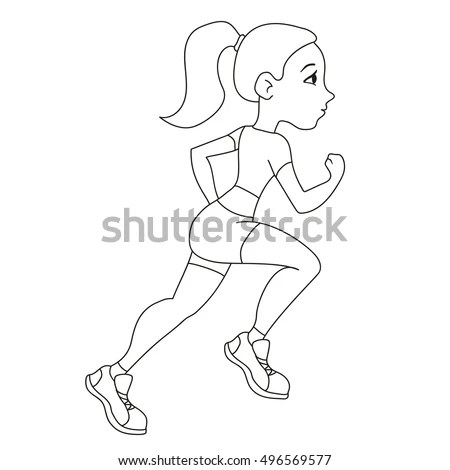 Pretty Girl Running Cartoon Style Vector Stock Vector