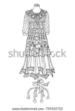 Hand Drawn Dress Sketch Antistress Adult Stock Vector