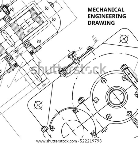 Mechanical Engineering Drawings Vector White Stock Vector