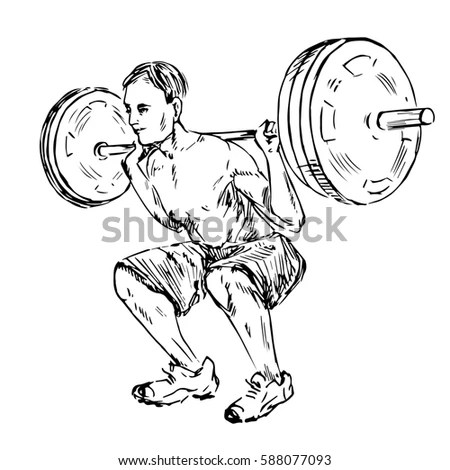 Boy Lifting Heavy Weights Music Hand Stock Vector