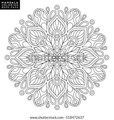 Mandala Vector Floral Flower Oriental Coloring Stock