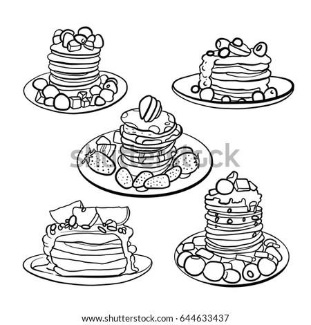 Hand Drawn Pancakes Strawberries Syrup Decorative Stock