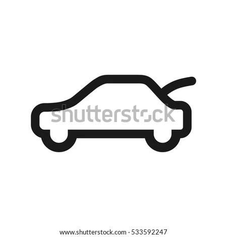 Electric Car Icon Electrical Cable Plug Stock Vector