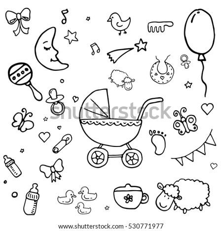 Cute Newborn Seamless Pattern Baby Boybaby Stock