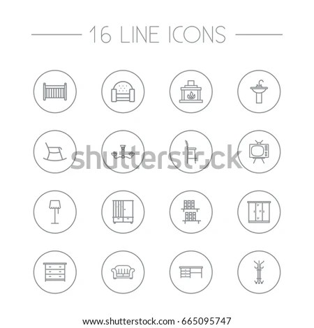 Drafting Tools Icon Collection Technical Drawing Stock