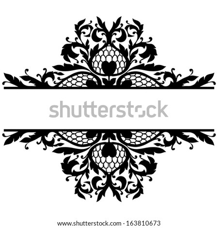 Embroidered Lace Trim Isolated White Fabric Stock Photo
