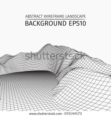 Abstract Vector Wireframe Landscape Background Cyberspace