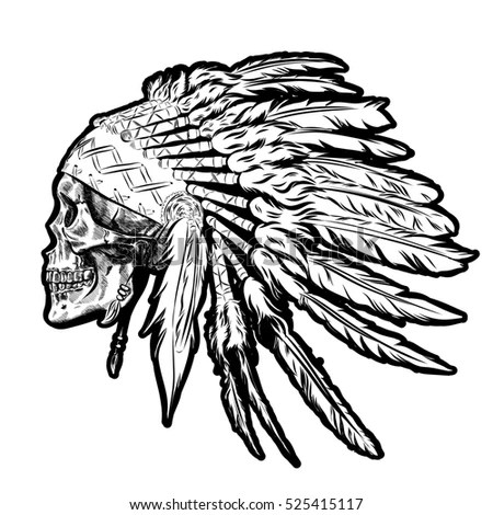 Hand Drawn Native American Indian Headdress Stock Vector