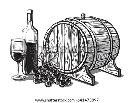 Template Bunch Grapes Cask Wine Glass Stock Illustration
