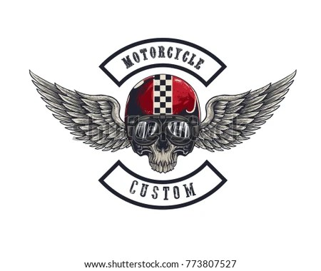 Vector Illustration Emblem Racing Motorcycle On Stock