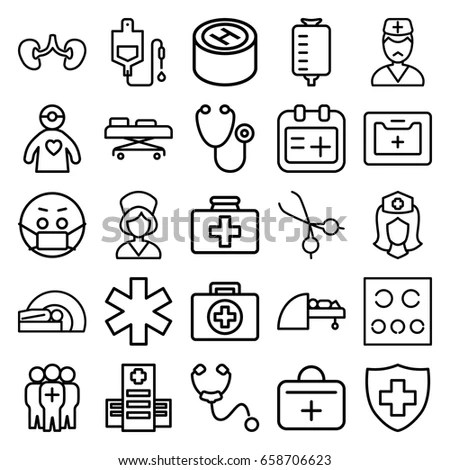 Colored Medical Health Care Icons Set Stock Vector