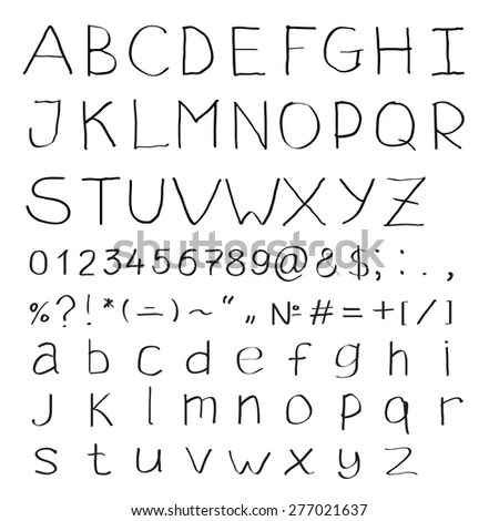 Nail Tack Alphabet Abc Font Silhouette Stock Illustration