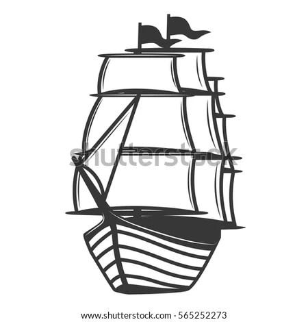Vector Logo Sailing Ship Barque Sailboat Stock Vector