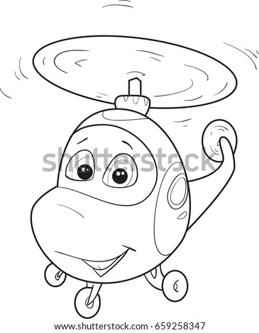 Coloring Page Outline Cartoon Fox Fish Stock Vector