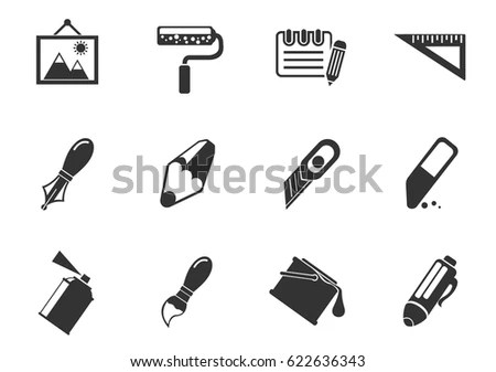 Drawing Painting Tools Icons Stock Vector 27580285