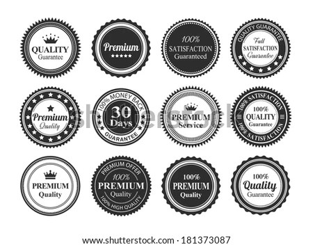 Nine Vintage Insignias Labels Stock Vector 680188837