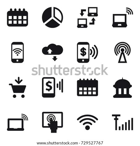 Connection Icons Set Set 16 Connection Stock Vector
