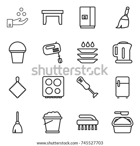 Set Flat Simple Web Icons Bathroom Stock Vector 184082228