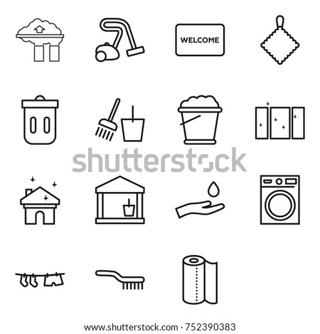 Set 9 Clean Outline Icons Such Stock Vector 608361314