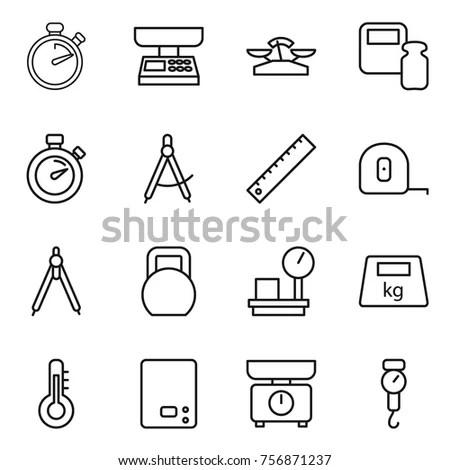 Thin Line Icon Set Hanger Bucket Stock Vector 745017379