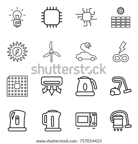 Set 16 Machine Outline Icons Such Stock Vector 637553764