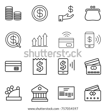 Set Thin Line Finance Banking Icons Stock Vector 223500865